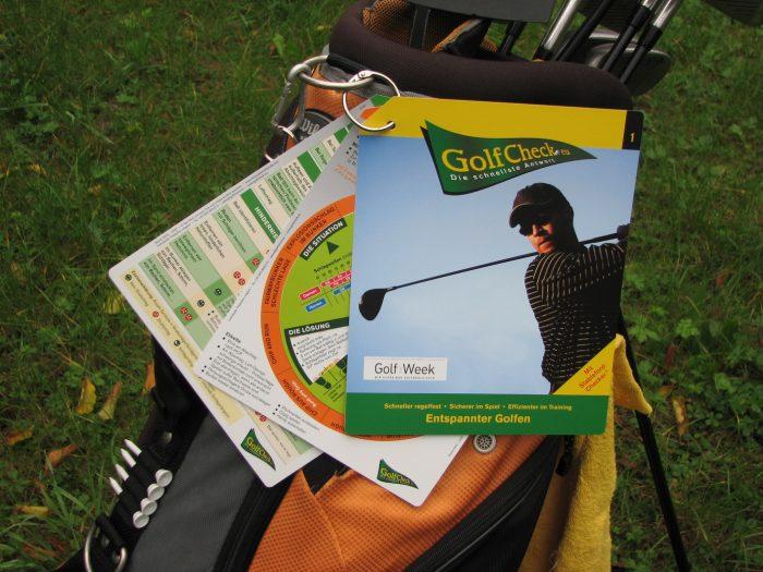 GolfCheck mimt Clip anhängen oder ins Bag stecken, wasserfest und reissfest