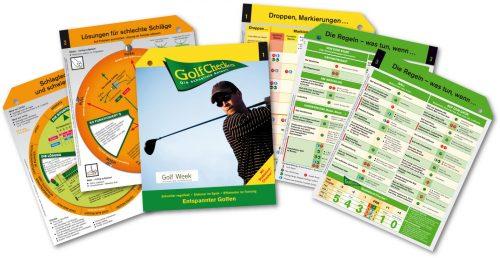 GolfCheck 6 seitiger Fächer. Golfregeln 2019 aktuell und extrem kompakt. 2 Drehscheiben mit schwierigen Lagen und schlechten Schlägen. Tipps und Tricks vom Golf Pro