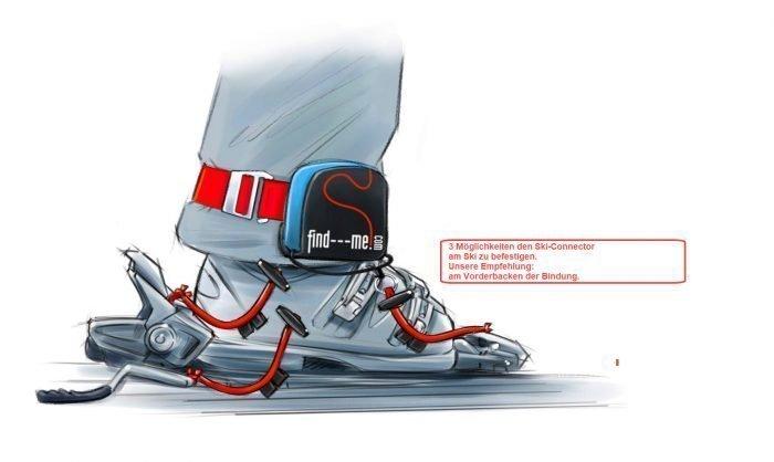 3 Möglichkeiten die find---me Ski-Connectoren am Ski zu befestigen: Vorderbacken, Hinterbacken oder Skistopper
