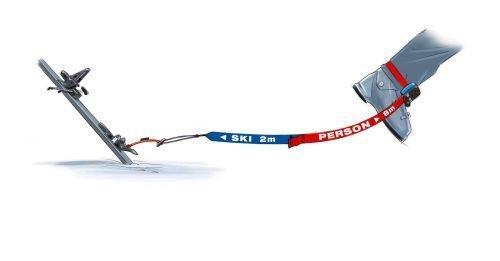 find---me!: 2 m blaues Band bleibt am Ski, 8m am Menschen. Klettverschluss verhindert Verletzungen