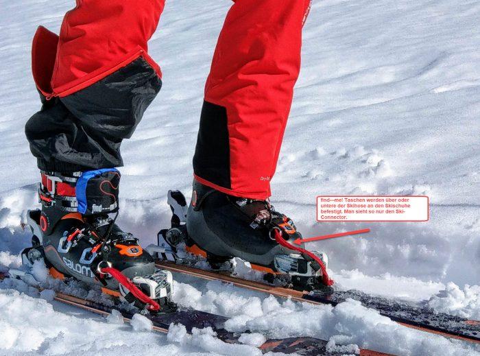 Find---meT Taschen unter oder über der Skihose befestigen. Nur die Ski-Connectoren verbinden Ski und Tiefschneebänder Lawinenbänder
