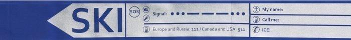 find---me Tiefschneeband mit reflektierenden Sicherheitsinformationen bedruckt TiefschneeBand blau mit Ski-Connectoren zum einfachen abhängen. Teil von find---me oder auch nur als Tiefschneeband erhältlich