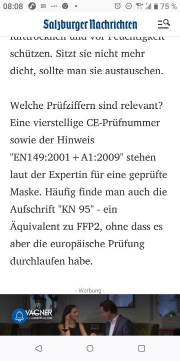 SN Salzburger NAchrichten über FFP2 MAsken, wie erkennt man gute